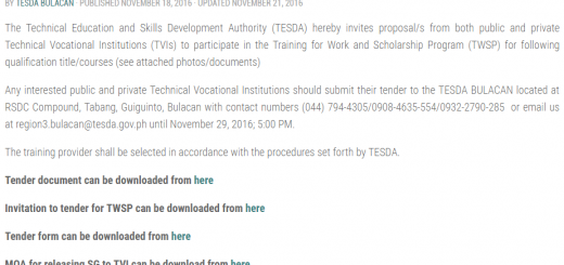 ANNOUNCEMENT: INVITATION TO TENDER FOR TWSP